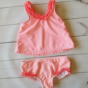 Carter's 2pc Neon Striped Ruffled Tankini 12m